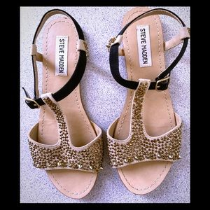 4/$25 Steve Madden Gold Studded and Spiked Sandals
